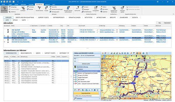 Adresse und Route in cobra Geodata