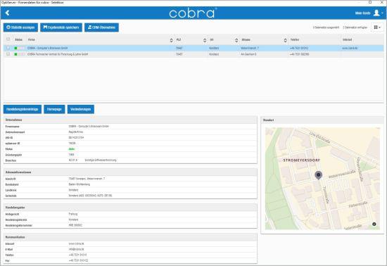 OptiServer - ausgewählte Firmenprofile ansehen